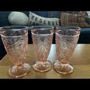 3 Pink Depression Ice Tea Glasses